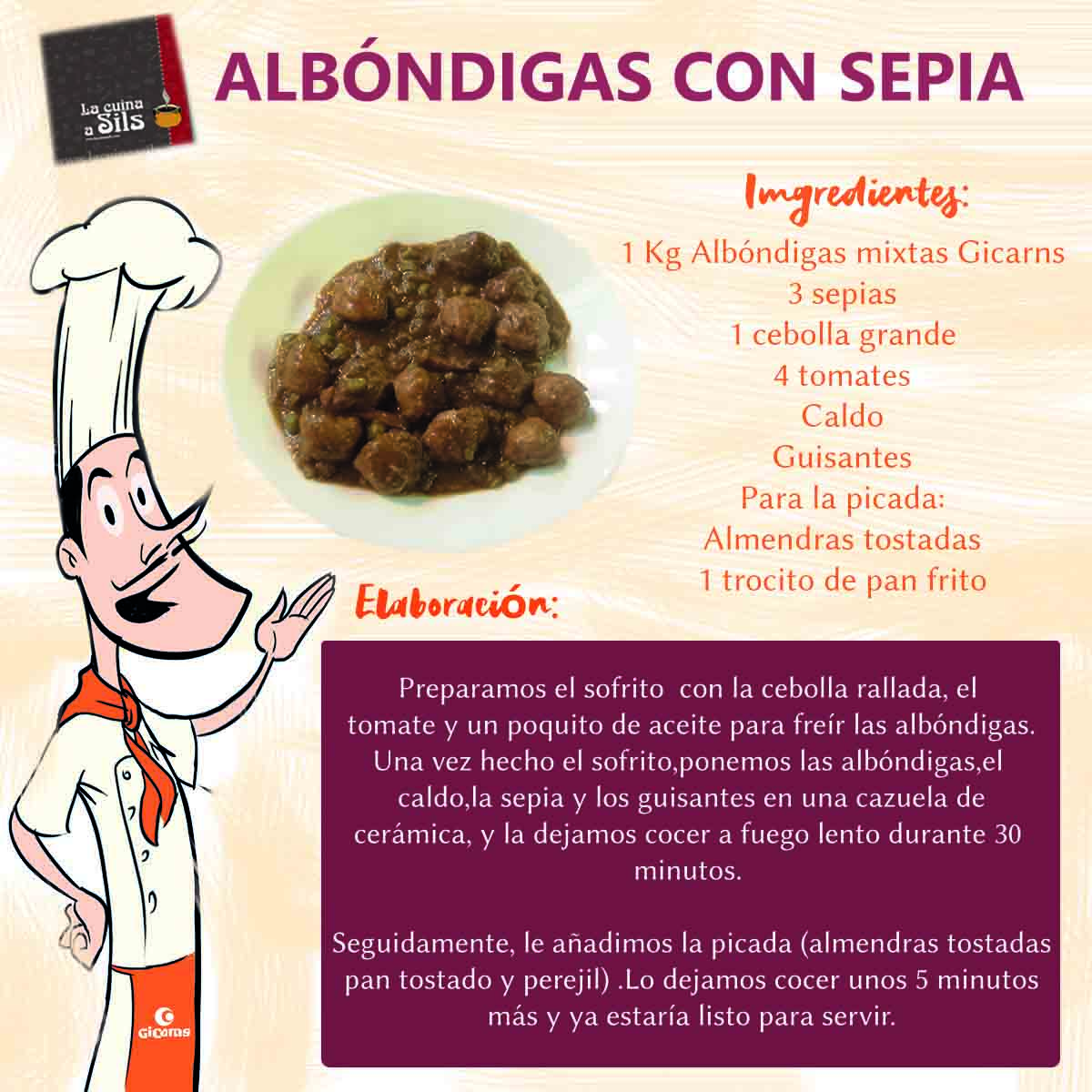 Recipe of meatballs with cuttlefish with  La Cuina a Sils